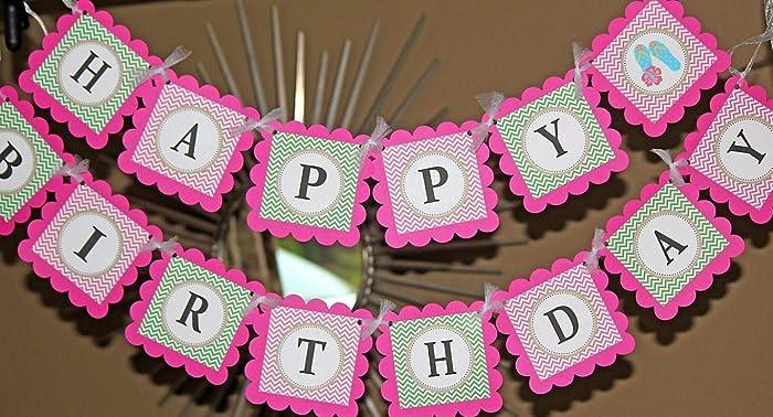 Amazon com: Hot Pink Happy Birthday Flip Flops Banner