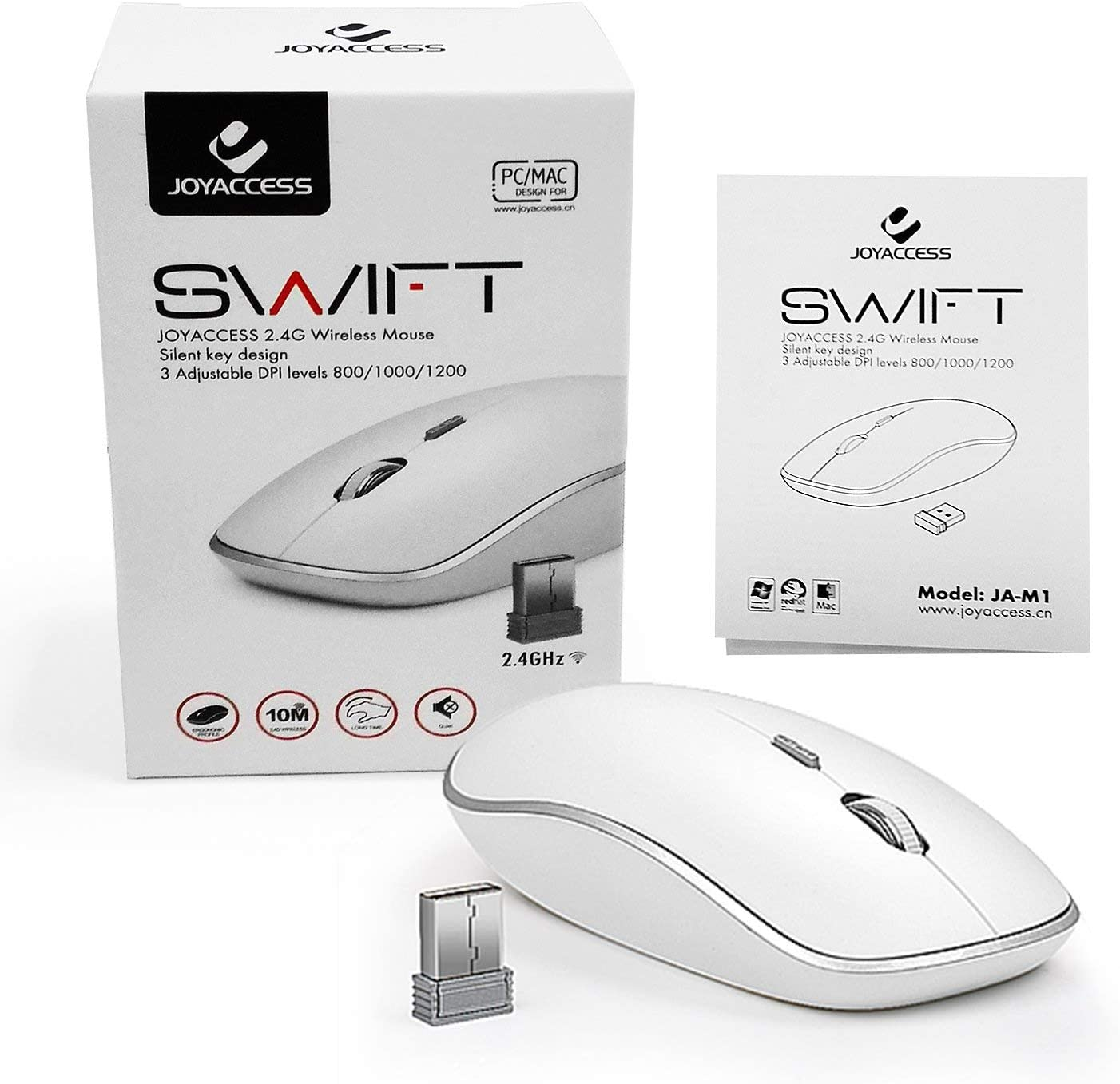 JOYACCESS Silent Stream line Optical Cordless Mouse with USB Nano Receiver and High Precision 2400 DPI-Silver+White Wireless Mouse for Laptop