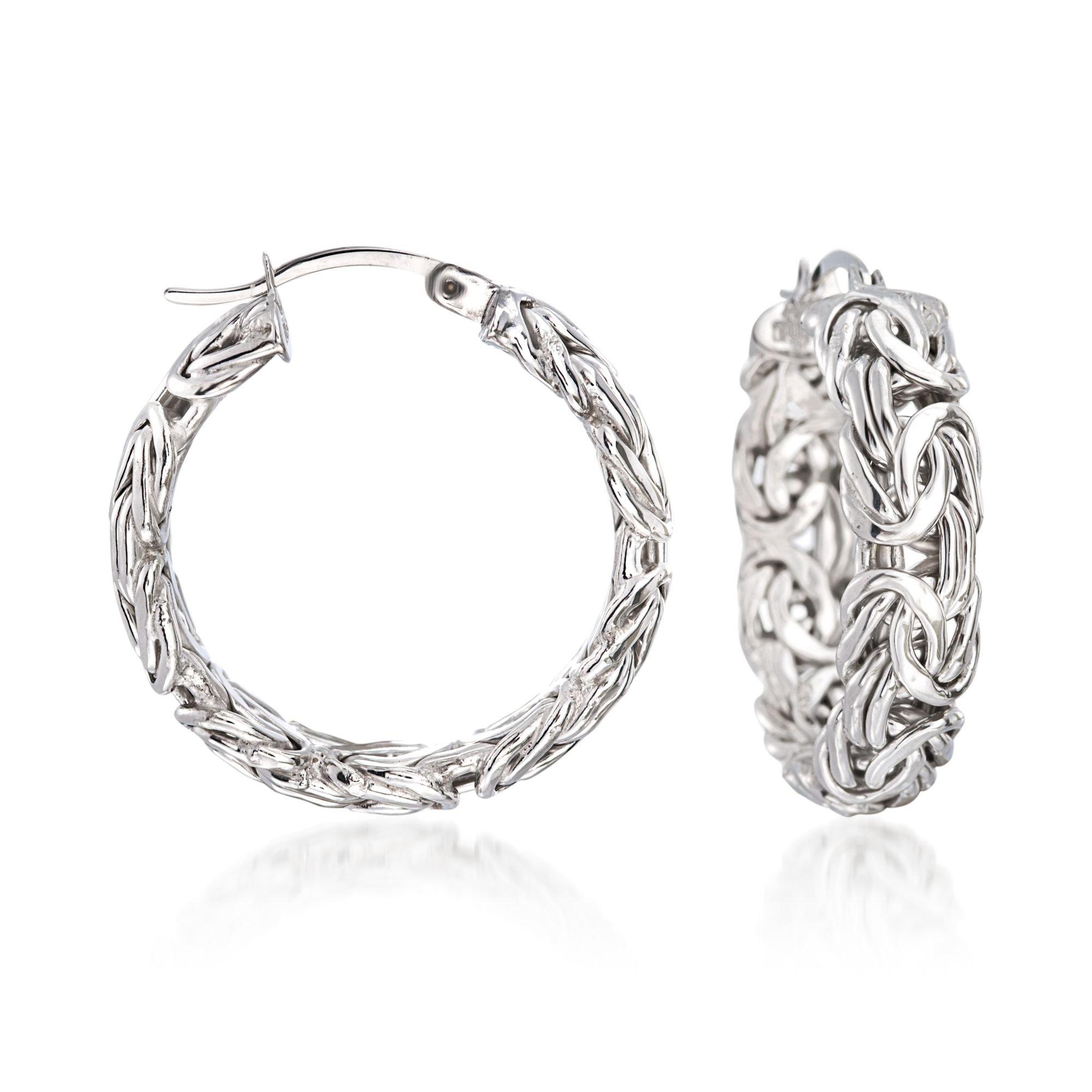 Ross-Simons Sterling Silver Small Byzantine Hoop Earrings