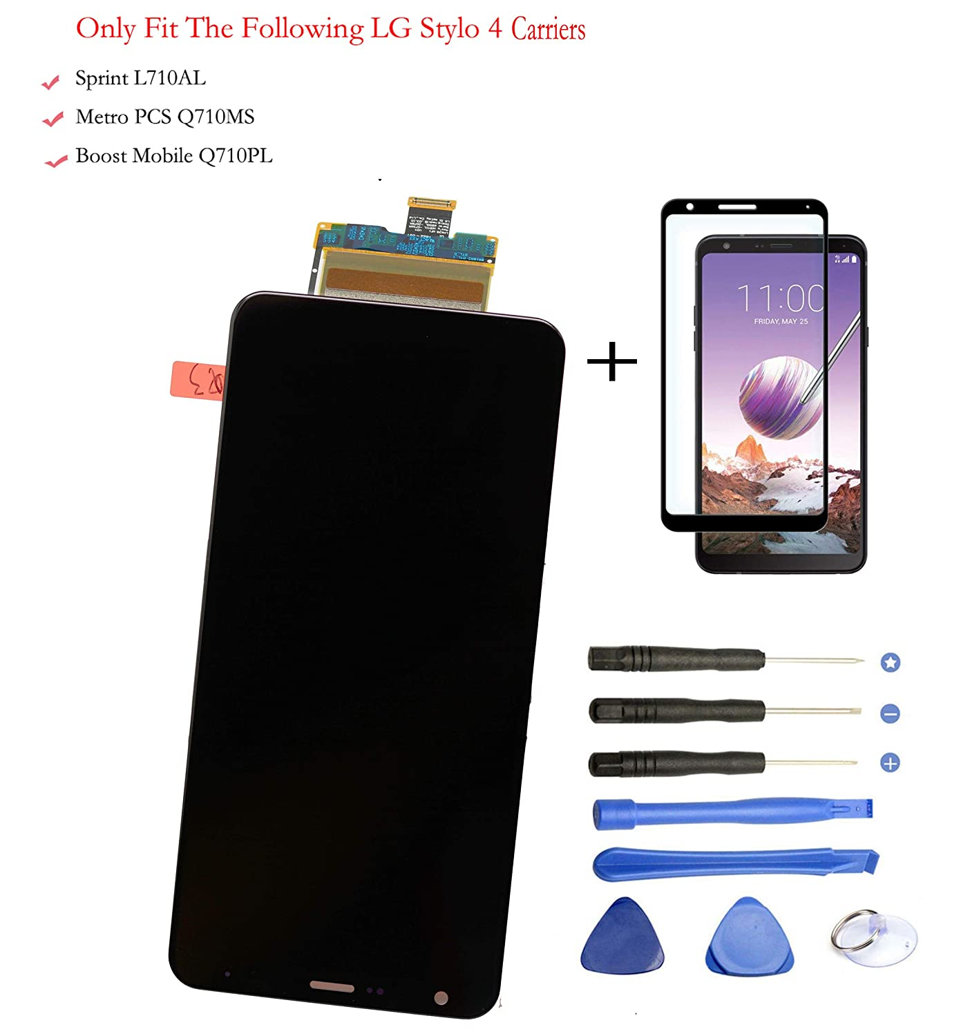 Eaglewireless LCD Touch Screen Digitizer Assembly Replacement for LG Stylo 4 Q710AL for Sprint and Q710MS for MetroPCS+Glass Protector