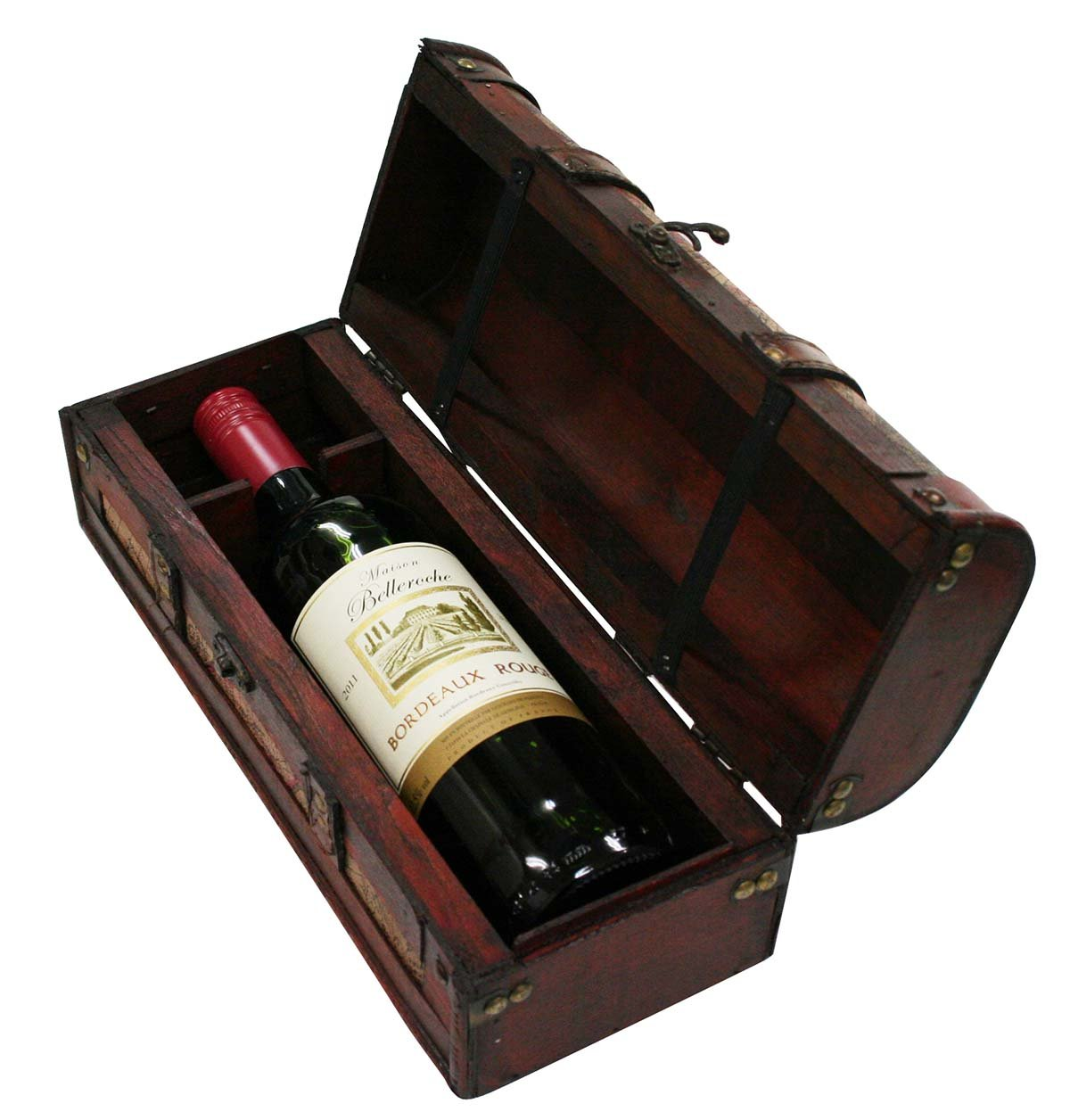 Amazon.com | Chateau 1 Bottle Old World Wooden Wine Box by Twine - (Wood Faux Leather) Wine Accessories Bar Tools u0026 Glasses  sc 1 st  Amazon.com & Amazon.com | Chateau 1 Bottle Old World Wooden Wine Box by Twine ... Aboutintivar.Com