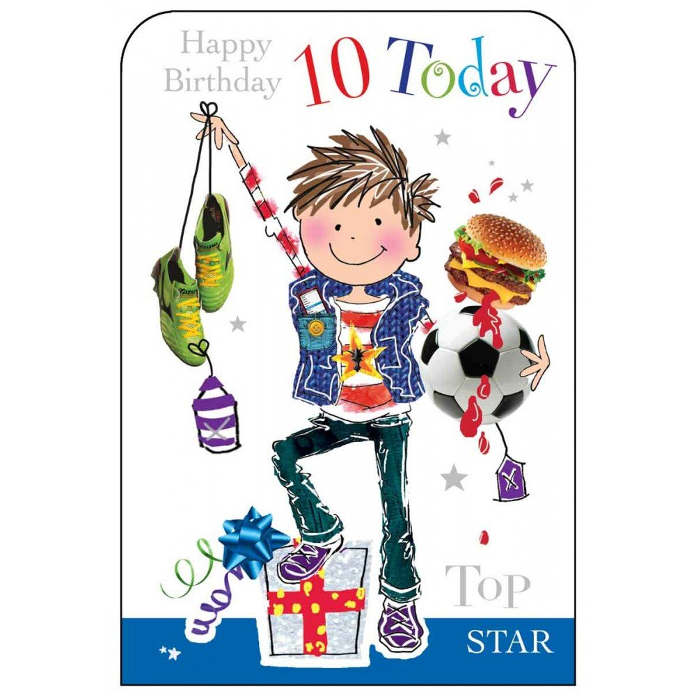 Boy age 10 footballer birthday card amazon office products bookmarktalkfo Gallery