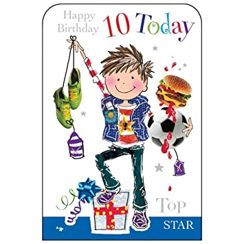 Boy Age 10 Footballer Birthday Card Amazon Co Uk Office Products