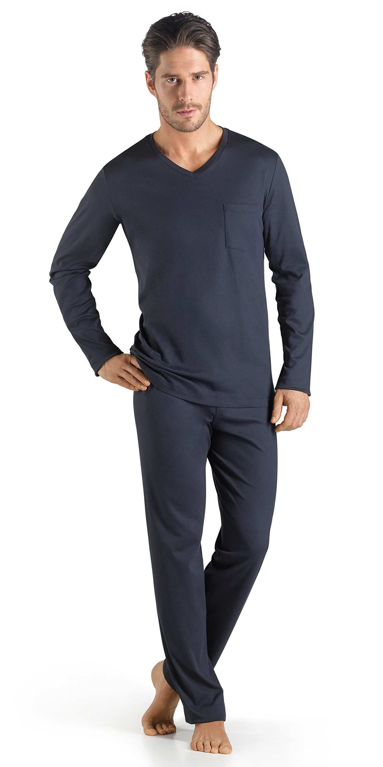 Hanro Men's Sea Island Cotton Long Sleeve Pajama 75284, Black Iris, XX-Large
