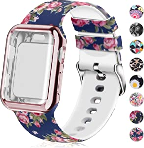 Compatible for Apple Watch Band 38mm with Screen Protector Case, Soft Silicone Sport Wristband for Apple Watch iwatch Series 3 2 1 (38mm,Blue Rose)