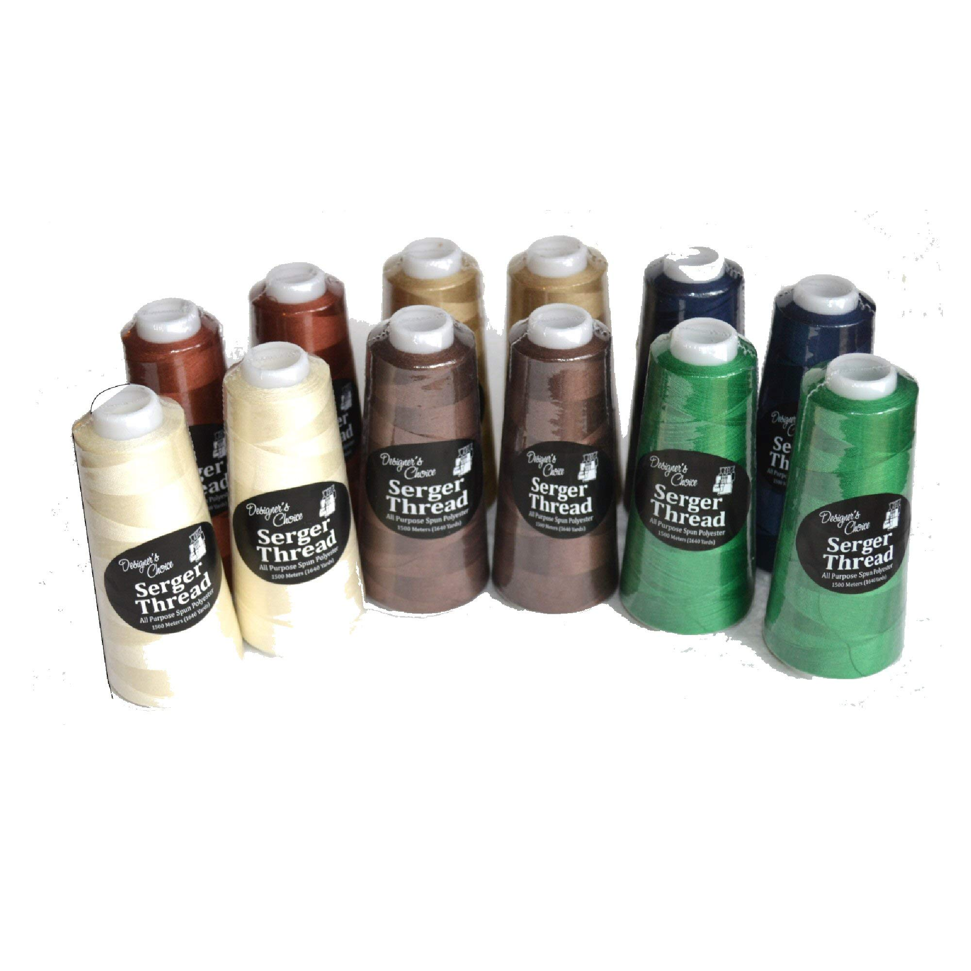 Bundle Set of 12 Earth-Tone NATURAL Serger Quilting Embroidery Thread 2 cones each of Asst Neutral Colors 1500 M by Designers Choice