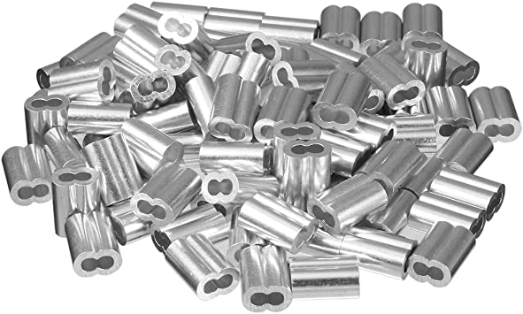uxcell 3mm 1//8 Wire Rope Aluminum Sleeves Clip Fittings Cable Crimps 100 Pcs