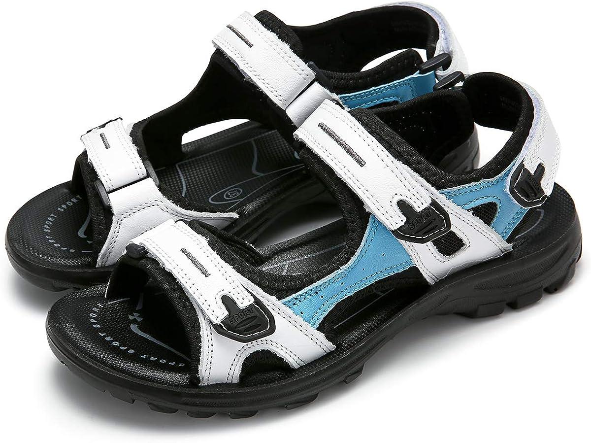 gracosy Sandalias Deportivas de Cuero para Mujer Sandalias Deportivas Al Aire Libre Senderismo de Verano Zapatos de Trekking Calzado Velcro Antideslizante Sandalias de Playa Confort Plana Ligera
