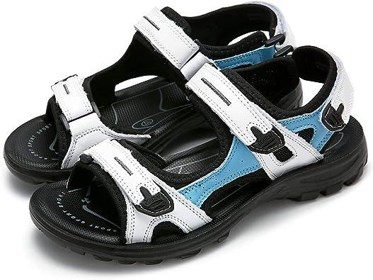 gracosy Sandales de Sports Femmes Filles, Chaussures de Randonnée Été Plates en Cuir à Scratch Réglable Confortable pour Marche Trekking Pieds Larges