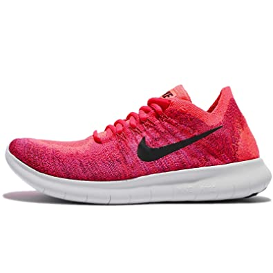 Nike Free Rn Flyknit 2017 Size 10 Womens Running Solar Red/Black-Bright  Mango