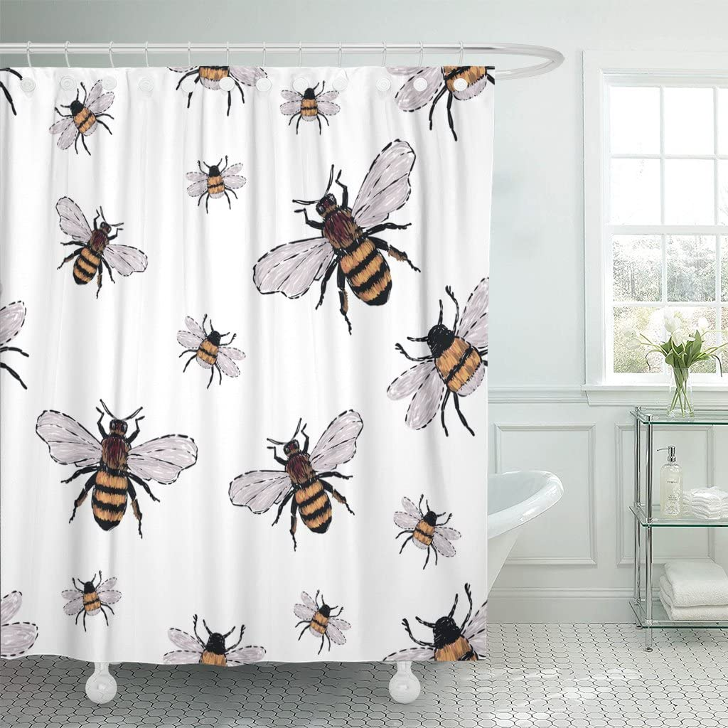TOMPOP Shower Curtain Watercolor Bumble Big Honey Bee and Small Funny Patch with Insects Trendy Traditional on White Black Waterproof Polyester Fabric 72 x 72 inches Set with Hooks