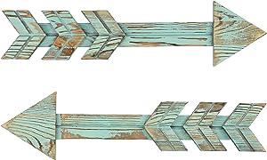 TIMEYARD Arrows Wall Decor, Set of 2 Rustic Wood Arrow Sign, Decorative Farmhouse Wall Hanging Decor, Green