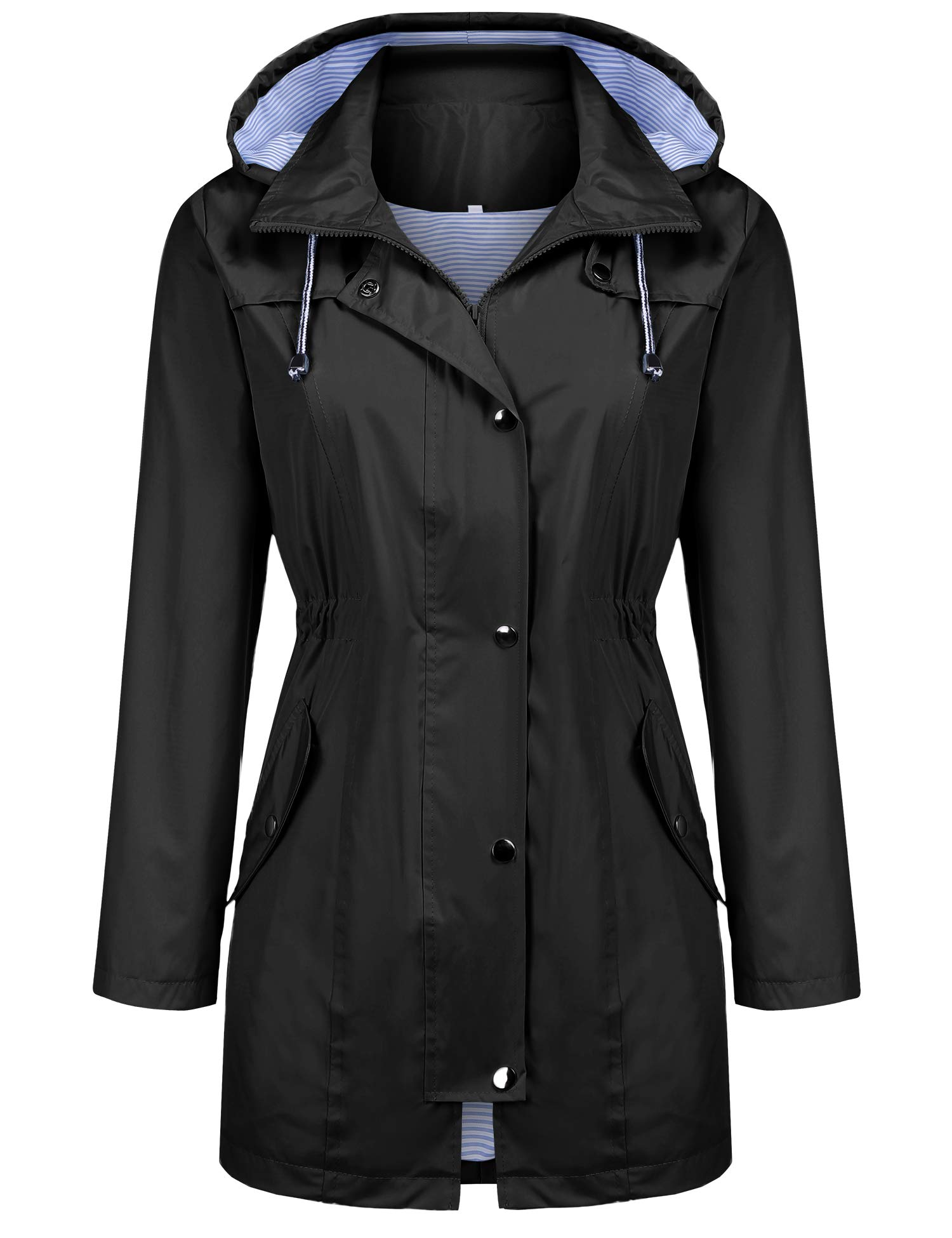Windbreaker Jacket for Women Quick Dry Outdoor Packable Hoody Rain Clothing Black S by Kikibell