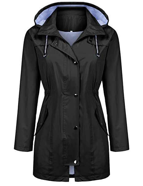 search for newest factory outlet fashion styles Kikibell Rain Jacket Women Striped Lined Hooded Lightweight Raincoat  Outdoor Waterproof Windbreaker