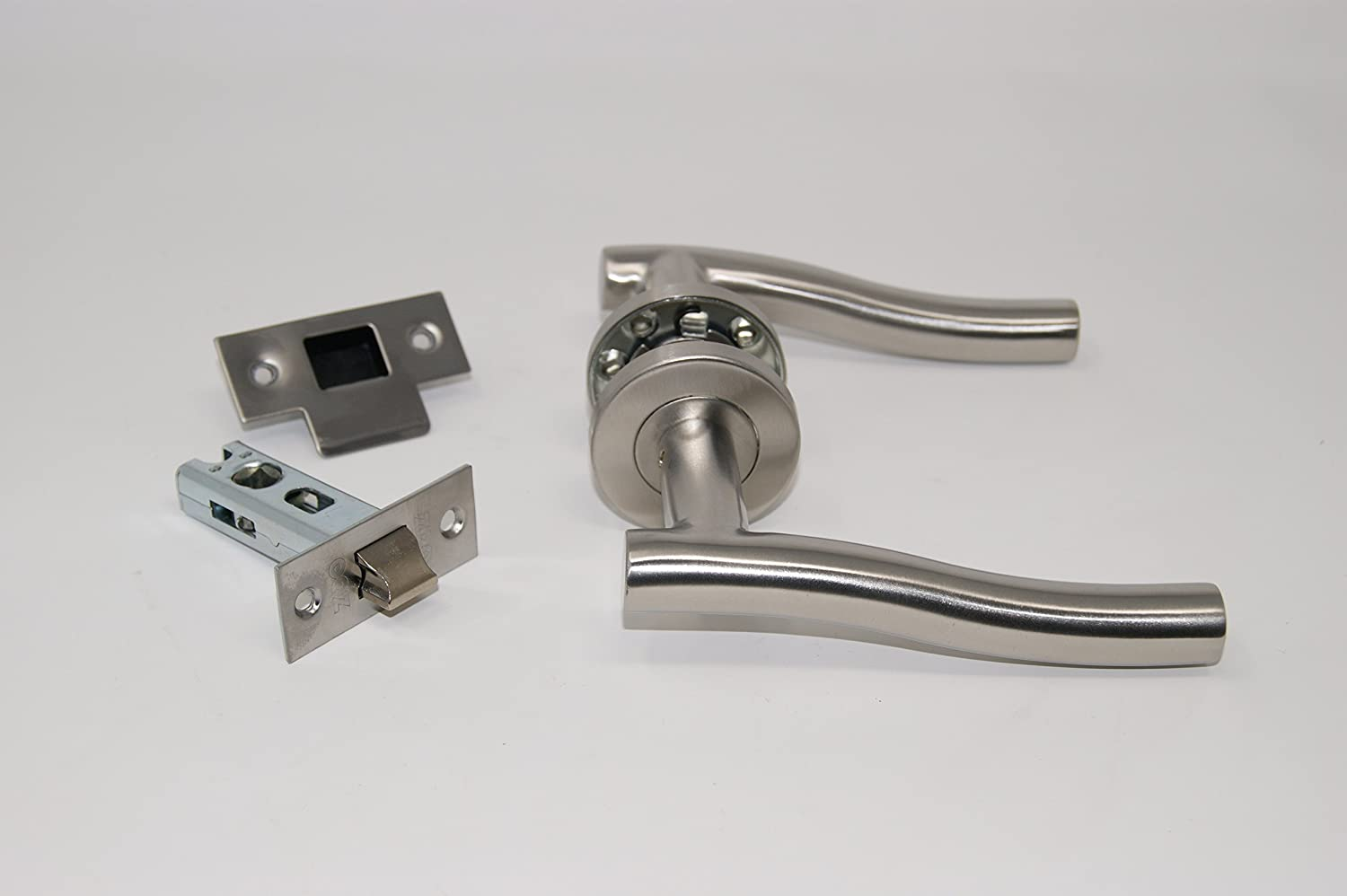 Stainless Wave Door Handle Pack Latch Set with Hinges Satin Stainless Steel