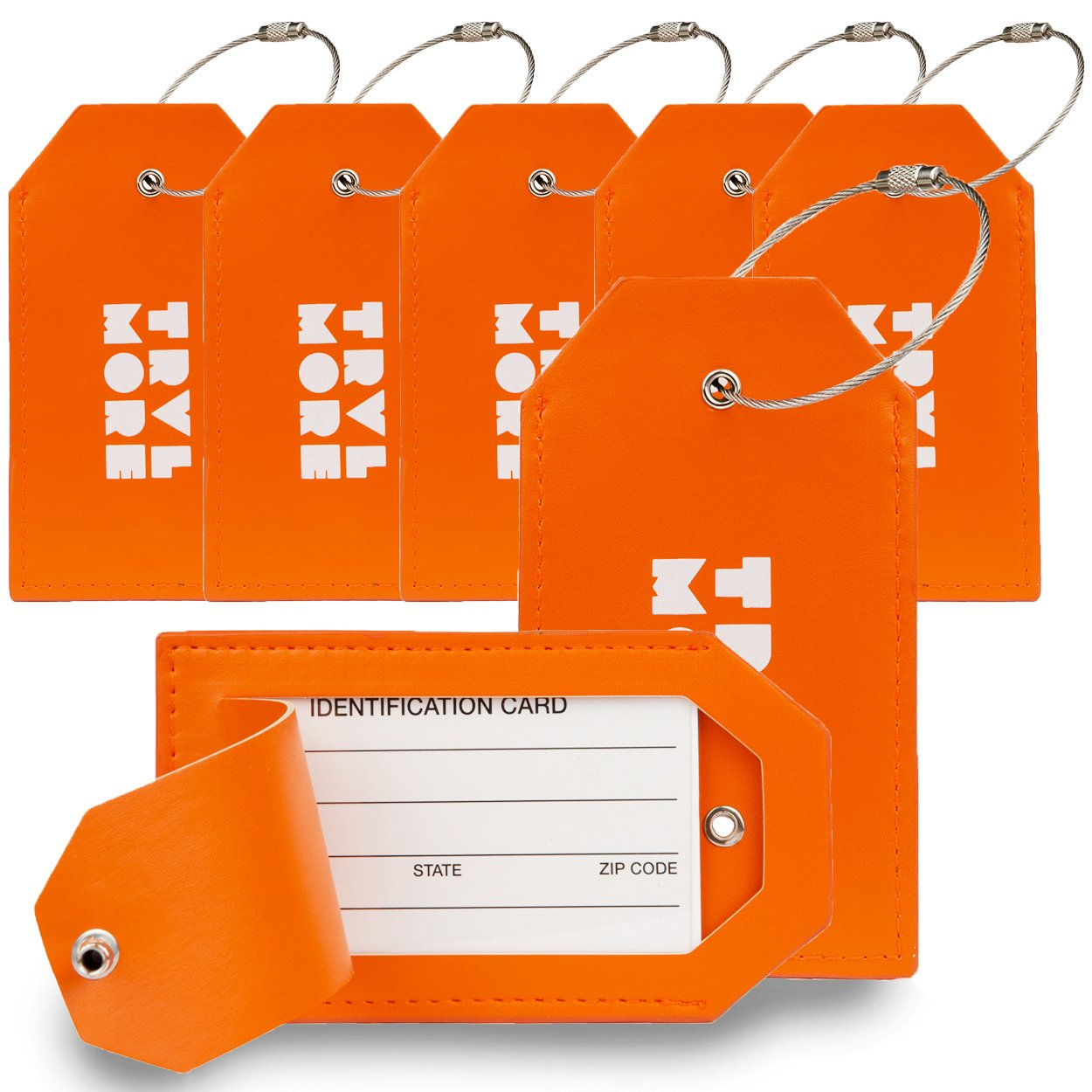 7 Pack TravelMore PU Leather Luggage Tags For Suitcases w/Privacy Cover - Travel ID Identifier Labels Set For Bags & Baggage - Men & Woman - Orange