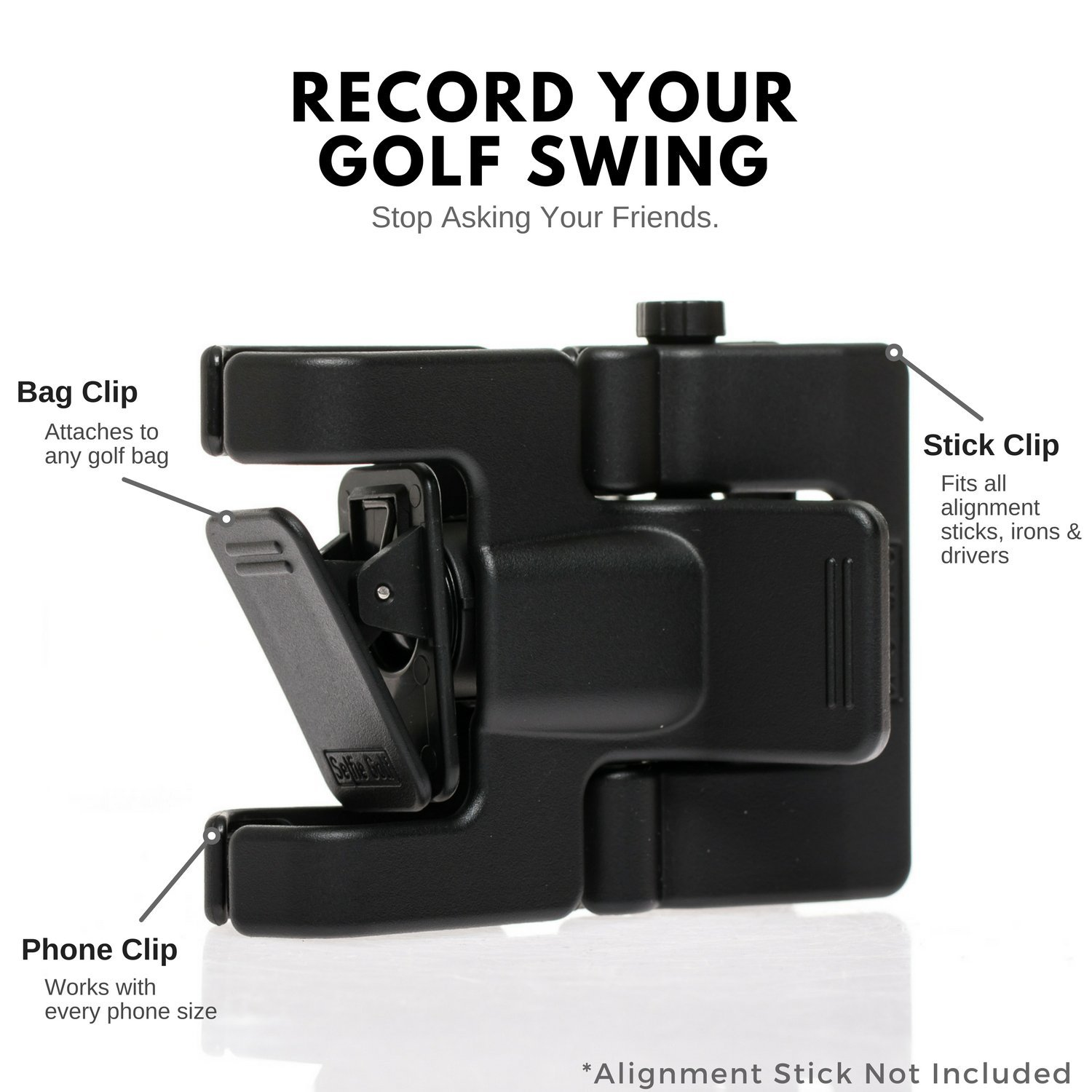 SelfieGolf Record Golf Swing-Cell Phone Clip Holder and Training Aid by TM-Golf Accessories |The Winner of The PGA Best of 2017 |Compatible with Any Smart Phone,Quick Set Up (Matte Black) by Selfie Golf (Image #3)