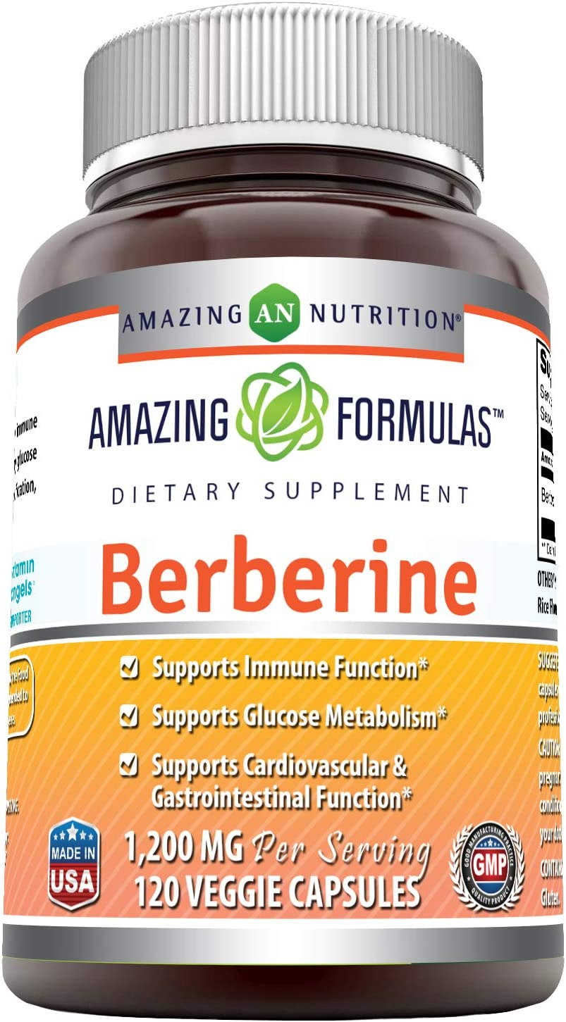 Amazing Formulas Berberine 1200 mg per Serving, Veggie Capsules – Supports Immune Function, Glucose Metabolism and Cardiovascular Gastrointestinal Function 120 Count
