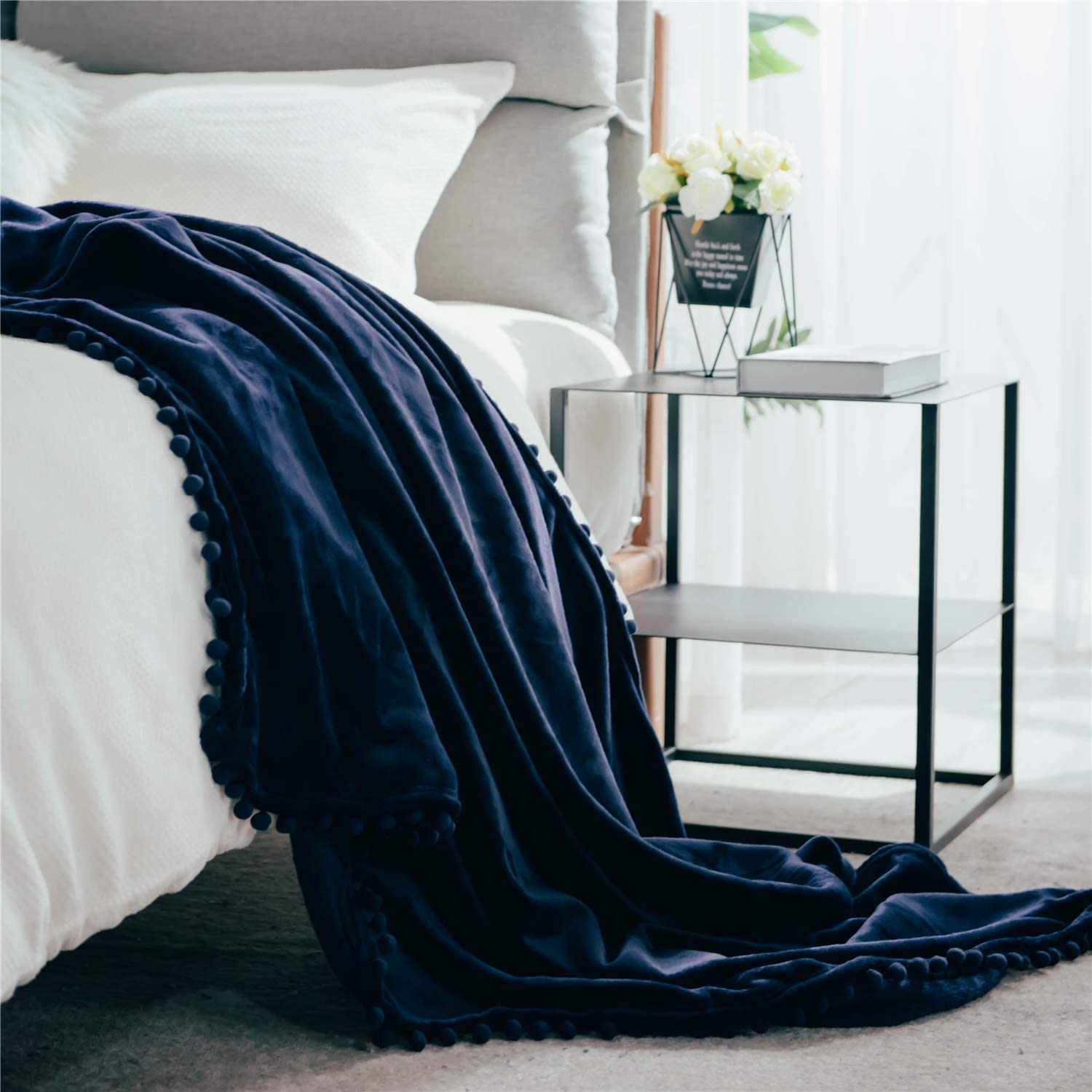 DEZENE Fleece Blanket with Pom-poms Navy: Decorative Soft Fuzzy Fluffy Plush Flannel Throw Blanket for Couch Sofa Bed Nap 60 x 80 Inch Twin