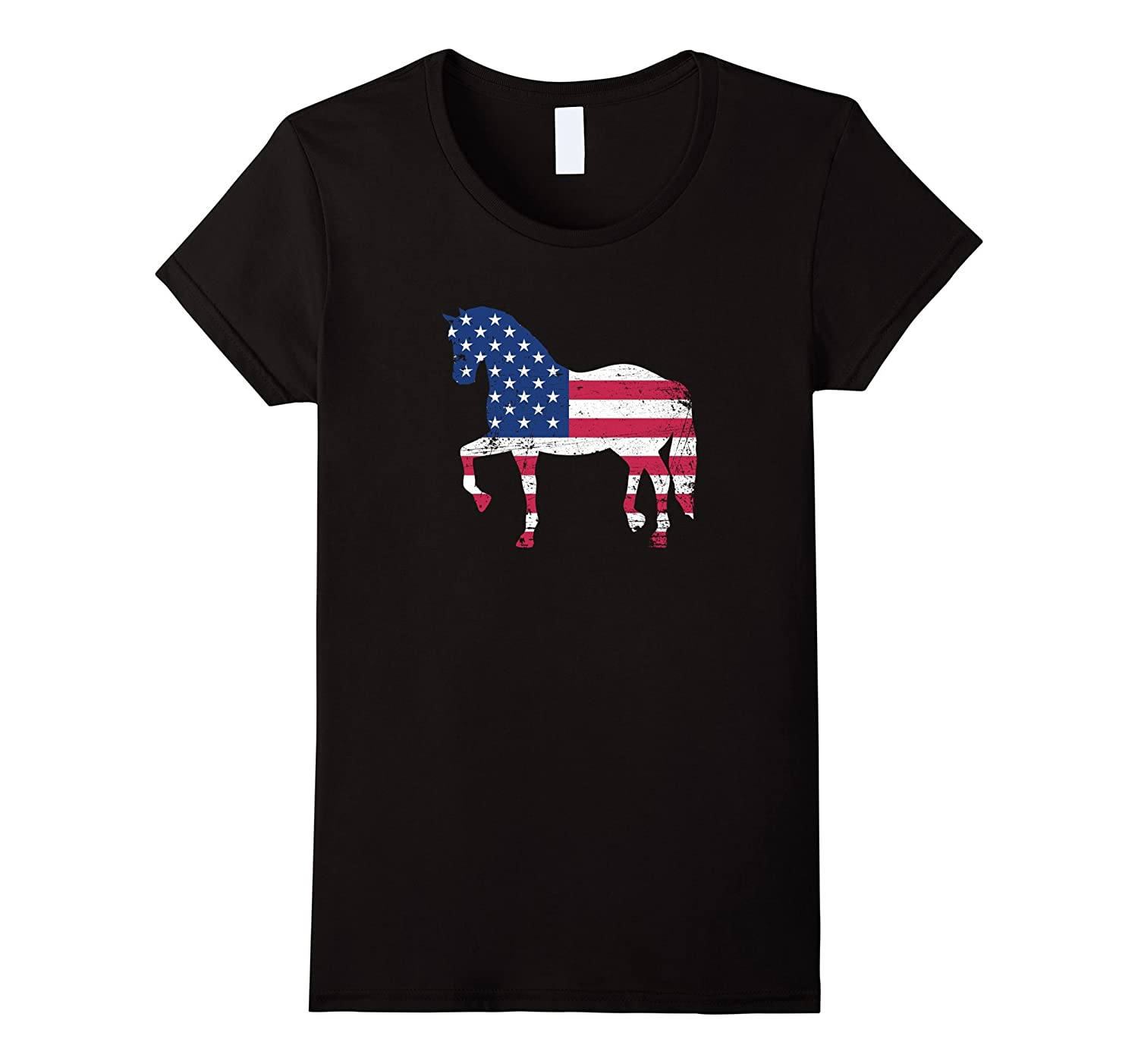 Cool Horse with American USA Flag Distressed Style T-shirt