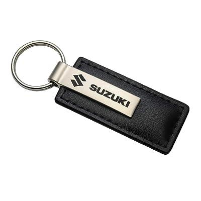 Au-Tomotive Gold, INC. Suzuki Black Leather Key Chain: Automotive