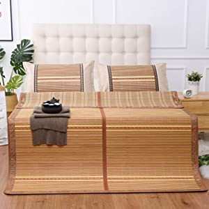 AMYDREAMSTORE Summer Cooling Mattress Topper pad Double-Sided Foldale Bamboo Sleeping mat Sleeping mat Carbonized Bamboo mat-A 90x190cm(35x75inch)