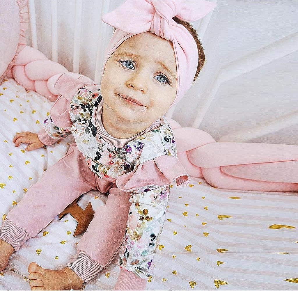 Jimmackey Neonato Bambine Stampa Floreale T-Shirt Top Manica Lunga Camicia Pantaloni Completi per Bambina con Felpa Rosa Neonata Abiti Set
