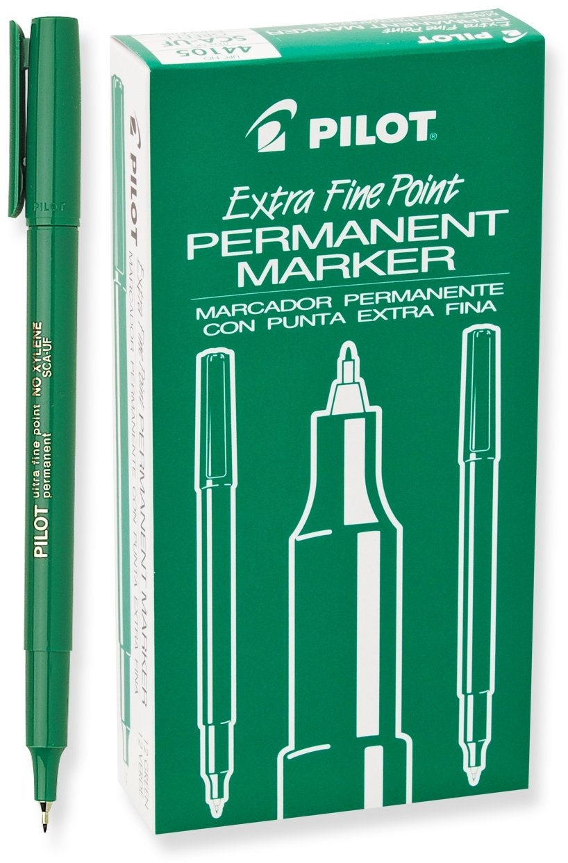 Pilot Extra Fine Point Permanent Markers, Green Ink, Dozen Box (44105)