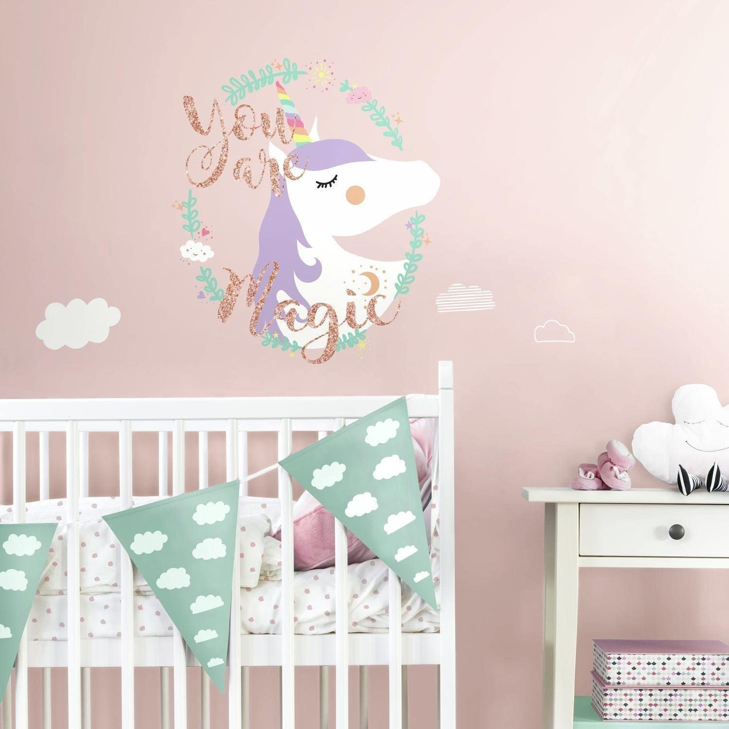 Girls Room Decor Roommates Magical Unicorn Peel And Stick Wallpaper Border Removable