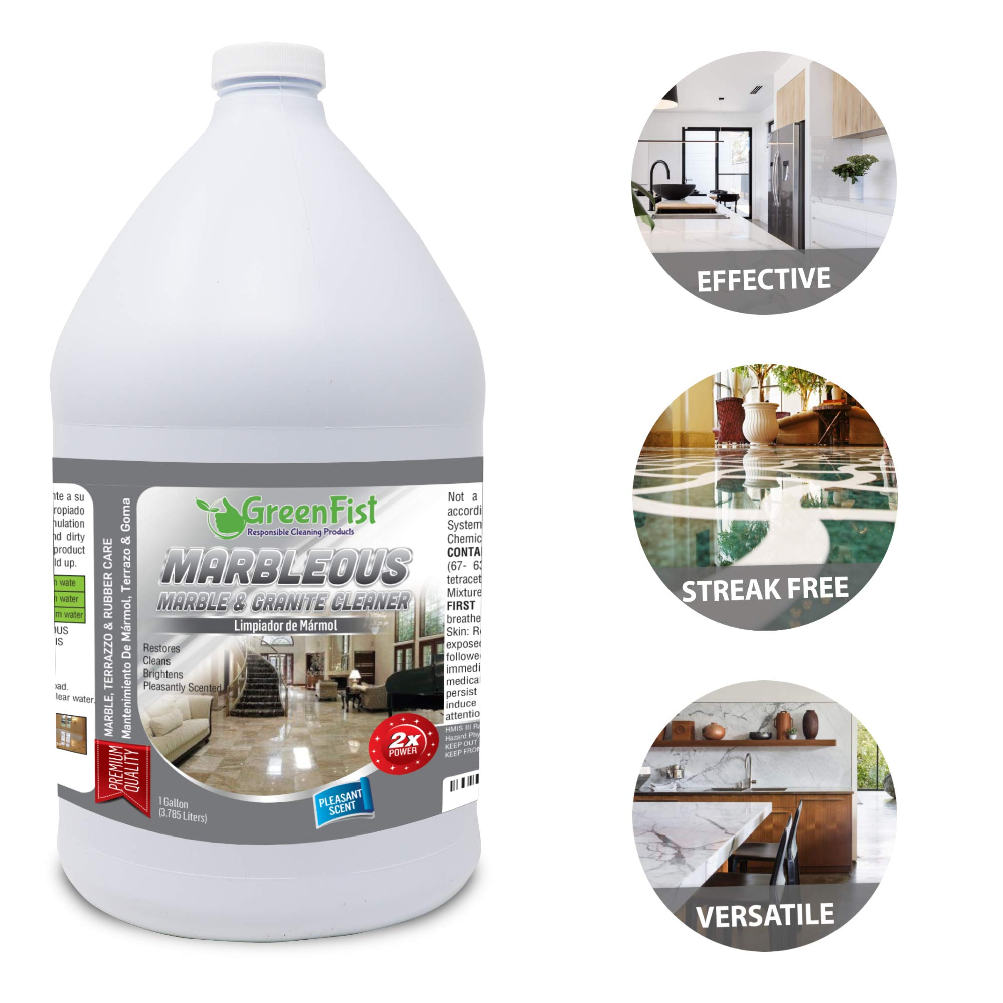 GreenFist Marbleous Marble Cleaner and Other Stone Surfaces Brightener & Restorer [Tile,Countertop,Porcelain,Lime-Stone,Ceramic,Granite,Brick,Vinyl] (1 Gallon) by GreenFist (Image #3)