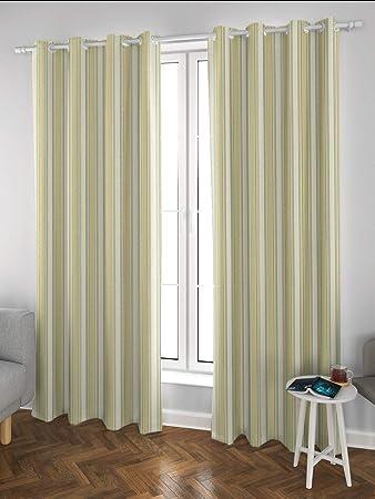 Buy Ddecor 5 Feet Window Meltem Woven Stripe Eyelet Curtain
