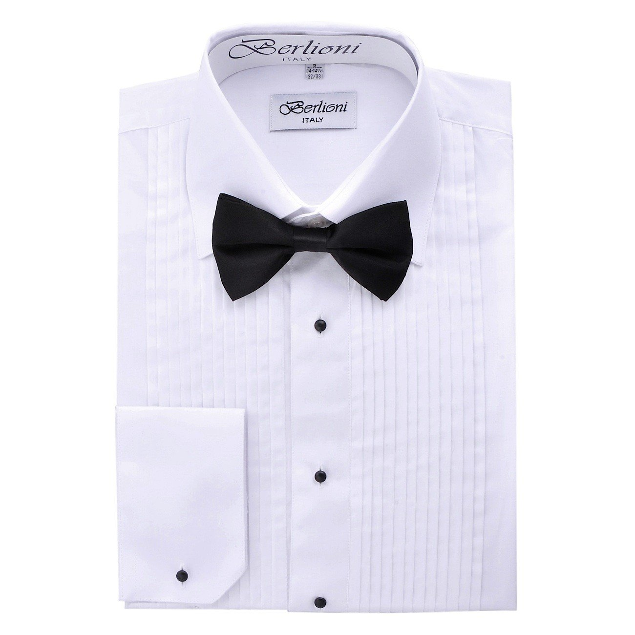 Berlioni Men's Plain Collar Tuxedo Shirt