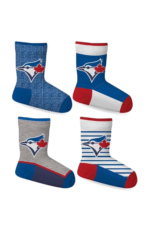 Toronto Blue Jays Boys Toddlers 4-Pack Crew Socks Shoe Size 8-11 MLB