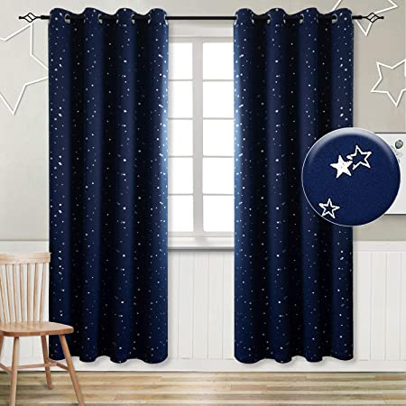 Bgment Kids Blackout Curtains For Bedroom Eyelet Thermal Insulated Silver Star Print Room Darkening Curtains For Living Room 2 Panels W46 X L90 Inch Navy Blue Amazon Co Uk Kitchen Home