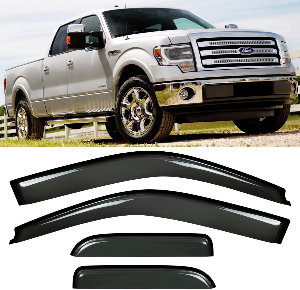 In-Channel Visor Wind Deflector Light Tint For Ford F-150 Regular Cab 97-03 2pcs