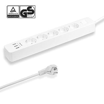 Elbe Regleta Enchufes, Enchufes múltiple USB con función Switch, 3 ...