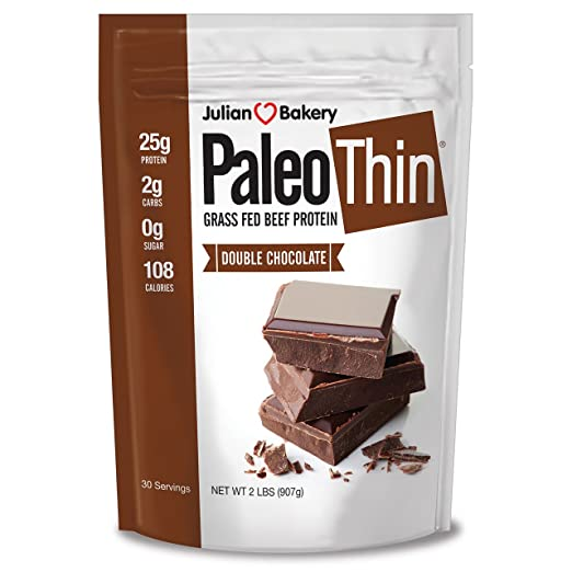 Julian Bakery Paleo Protein Double Chocolate Powder Grass Fed Beef, 2 Pound best paleo powder