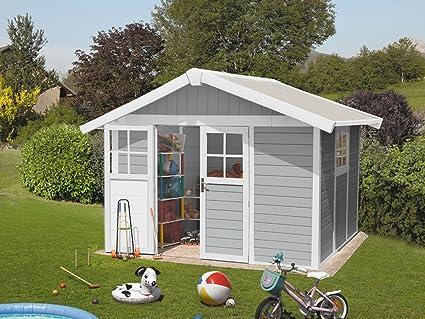 caseta cobertizo de resina jardin grosfillex deco7 7.53 m2 color gris claro