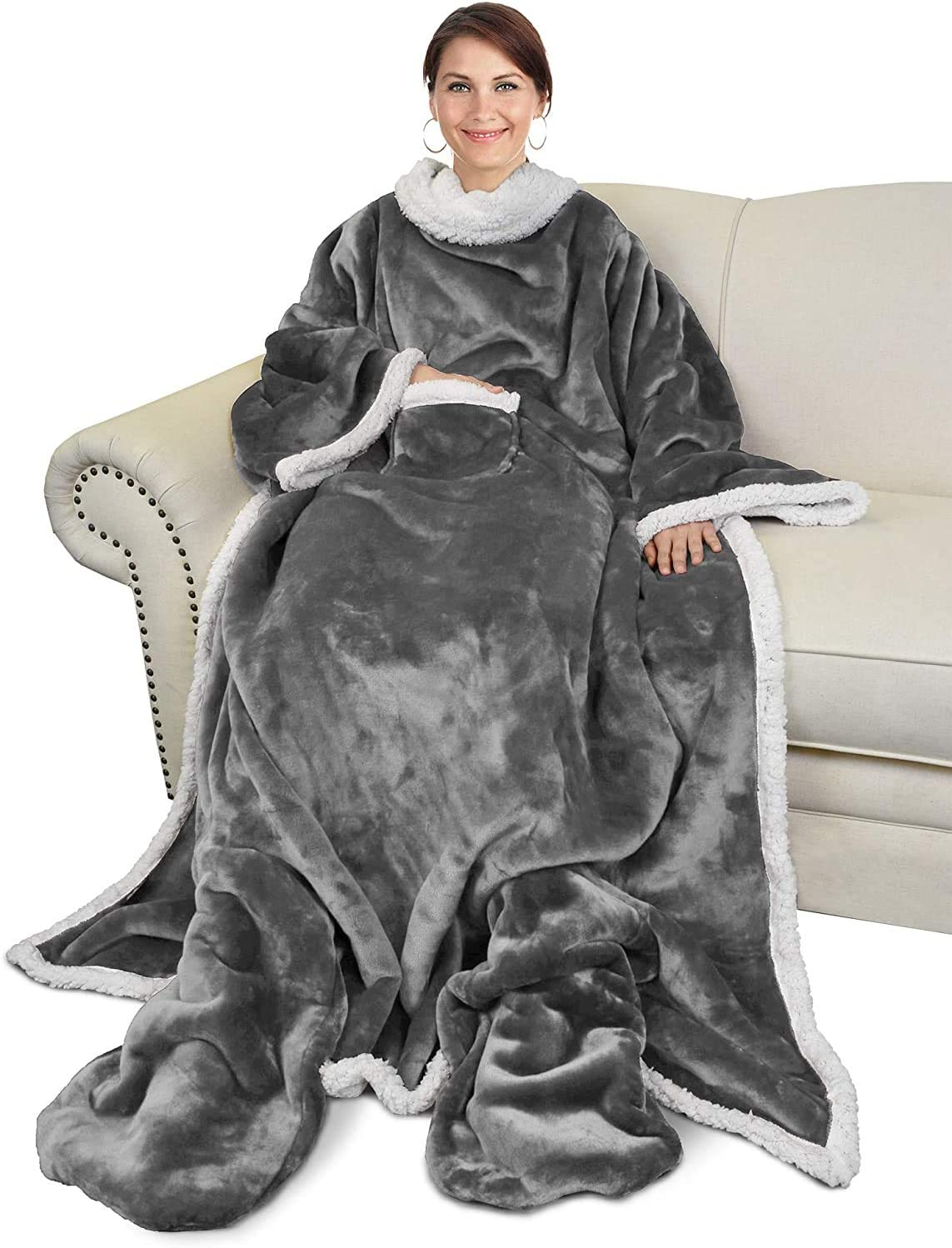 Catalonia Classy Wearable Sherpa Snuggle Blanket With Sleeves And Foot Pocket Soft Cosy Fleece Slankets For Women Warm Fluffy Plush Throws Winter Tv Blanket For Sofa Couch 190 X 135 Cm Amazon Co Uk Kitchen Home