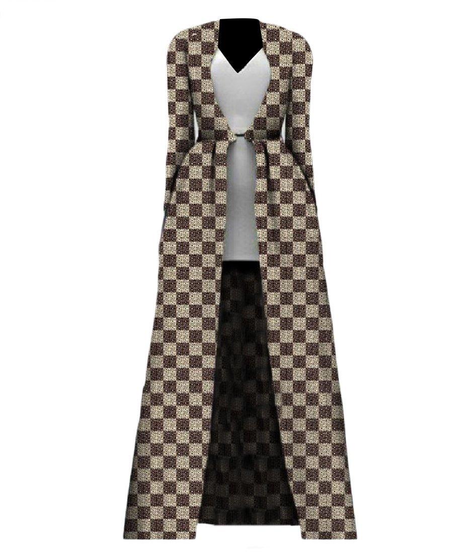 Comaba Women African Print Coat Plus Size Longline Cardigan Trench Coat 7 2XL