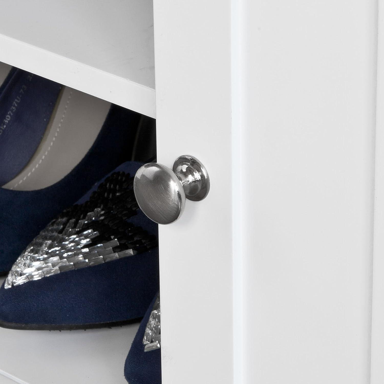 SoBuy FSR35-W Banc de Rangement Meuble Bas Entr/ée Commode /à Bottes Chaussures avec 2 Compartiments Ouverts 2 Portes et Coussin Rembourr/é