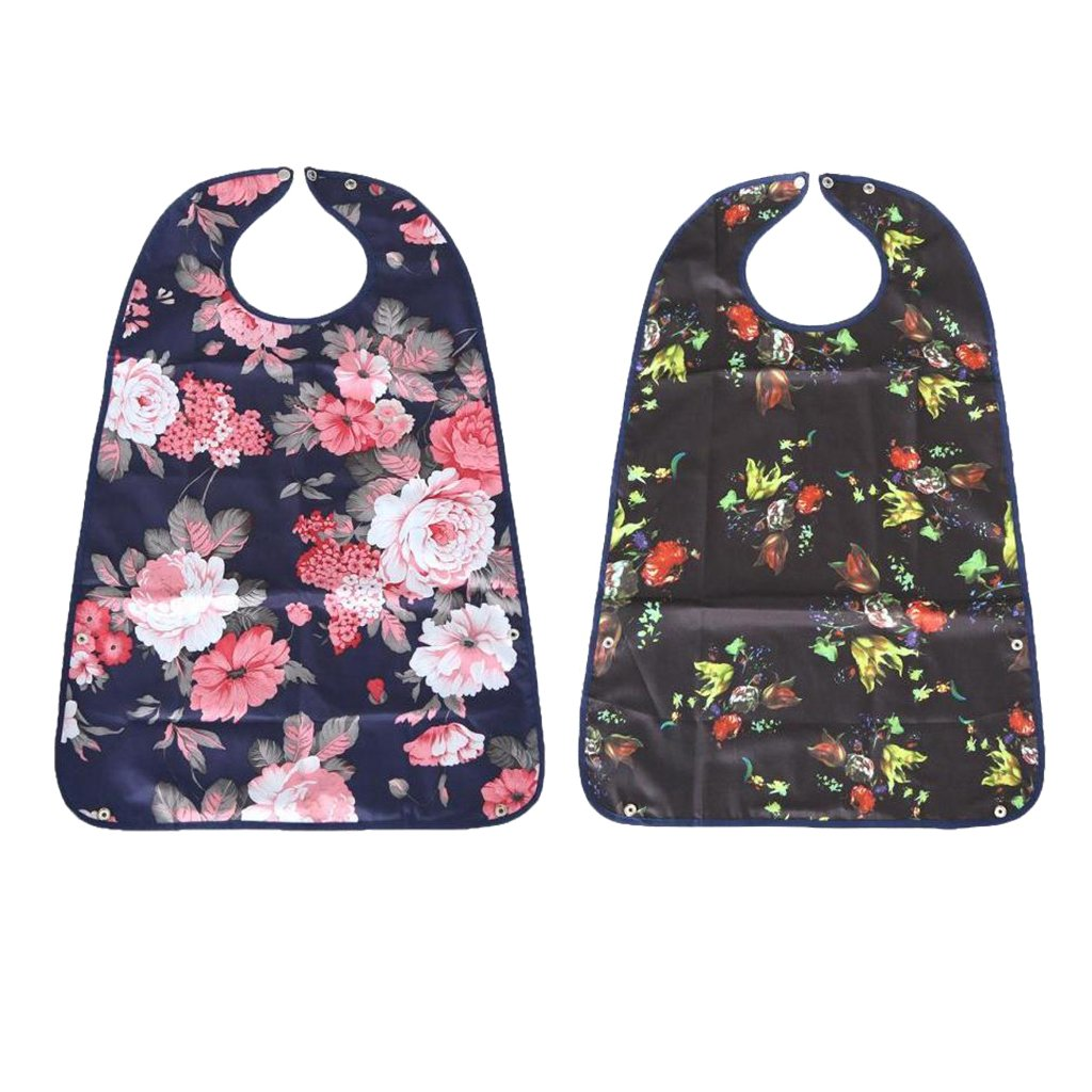 Baoblaze Pack of 2 Reusable Adult Eating Bibs Terry Cloth Dining Clothing Protectors Mealtime Disability Aid Aprons