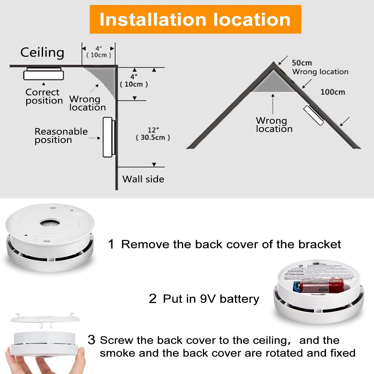 Smoke Alarm Fire Alarm Smoke Detector with Test Button 9 Volt Battery-Operated Photoelectric Smoke Alarms for Bedroom,Kitchen,Corridor,Bathroom and Hotel,10 Years 2 Pack Smoke Alarm with UL Listed by Askont (Image #5)