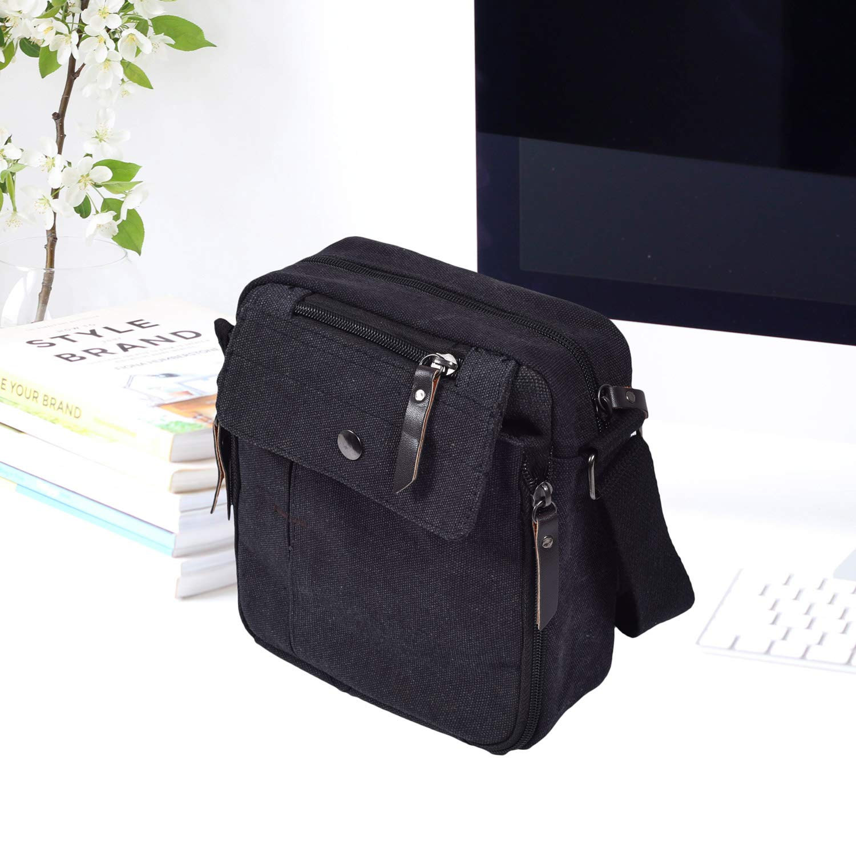 Mens Multifunction Canvas Crossbody Shoulder Bag Outdoor Travel Small Satchel Bag,Multi-Pocket Purse Handbag Organizer Bag,Black by dealcase (Image #4)