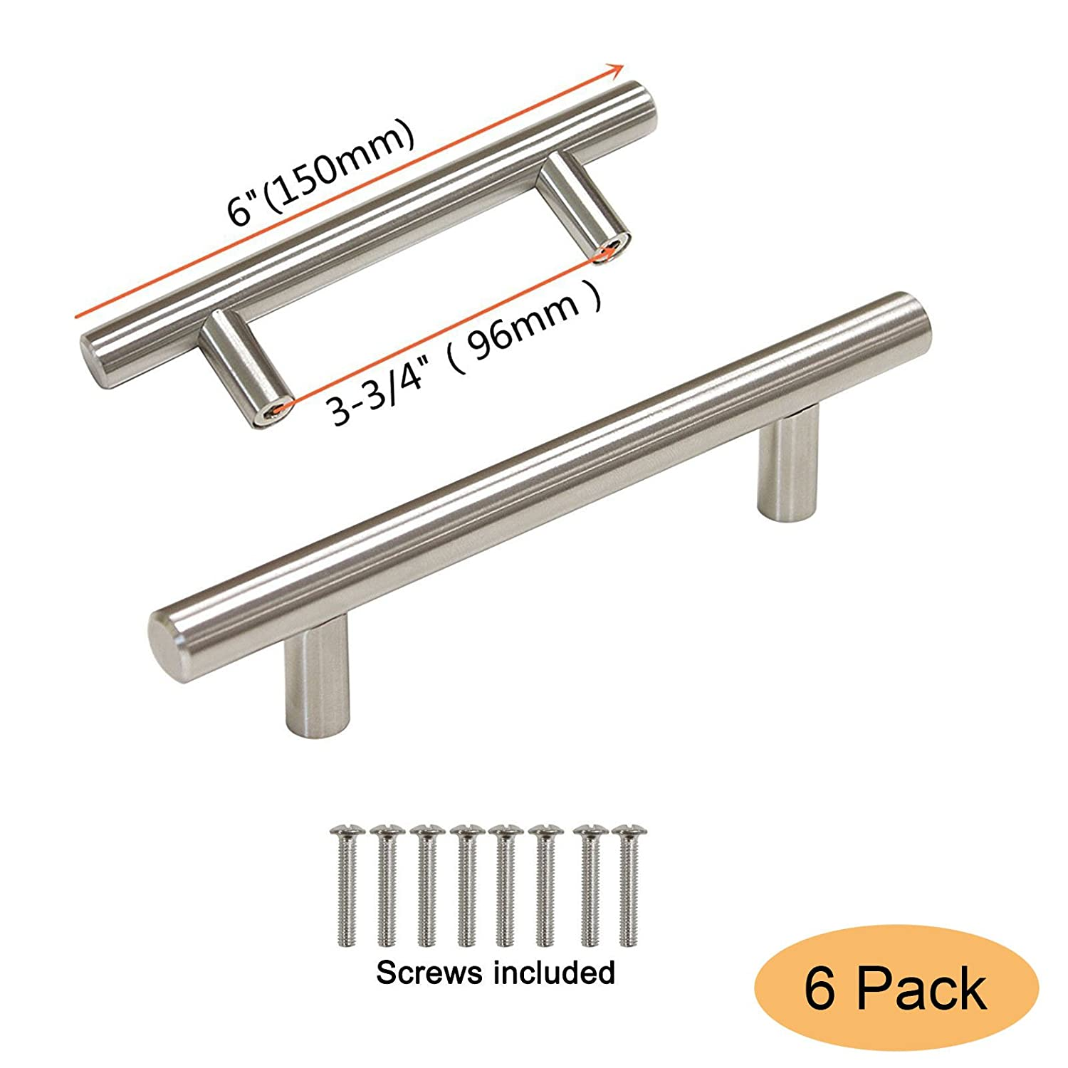 "Gobrico Kitchen Cabinet Handles Stainless Steel for Modern Drawer Dresser Pull Hole Center:96mm(3-3/4""),6 Pack"