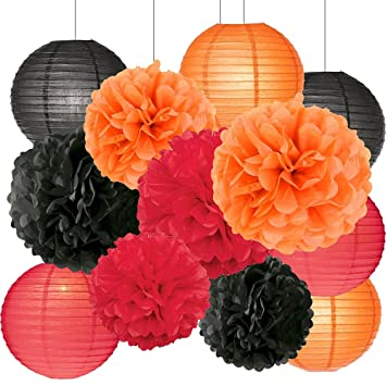 halloween party decorations kit tissue paper pom poms paper lanterns orange black red theme halloween series - Halloween Pom Poms