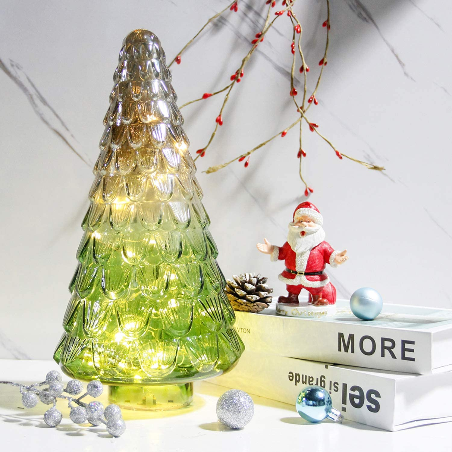 Amazon Com Mercury Glass Christmas Tree Lighted Xmas Tree Decorations Holiday Centerpiece Battery Operated Led With Timer Decorative For Tabletop Window Mantel Display Party Indoor Home Decor Green Home Kitchen