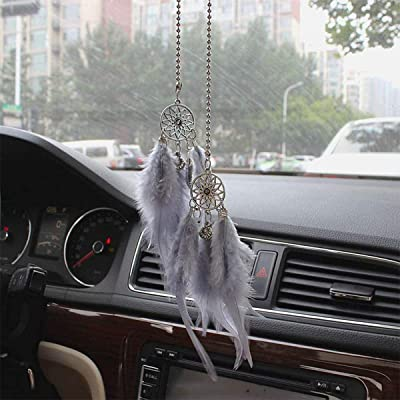 Car Rear View Mirror Hanging Pendant, Feather Dream Catcher Crystal Charm Bling Car Deco Accessories for Women (Grey): Automotive [5Bkhe0913959]