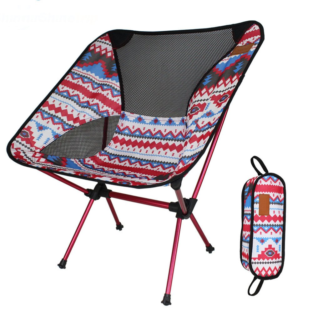 L&J Outdoor Folding Chair, Portable Camping Fishing Chair Lightweight Aluminum Alloy Moon Chair, Picnic Barbecue Painting Sketch, Load 150kg-A