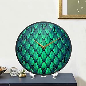 Wall Clock Battery Operated Mermaid Or Dragon Background Clocks Large Silent Non Ticking Decorative Wall Clocks Vintage Desk Quartz Analog Quiet Clock for Living Room Bedroom Kitchen